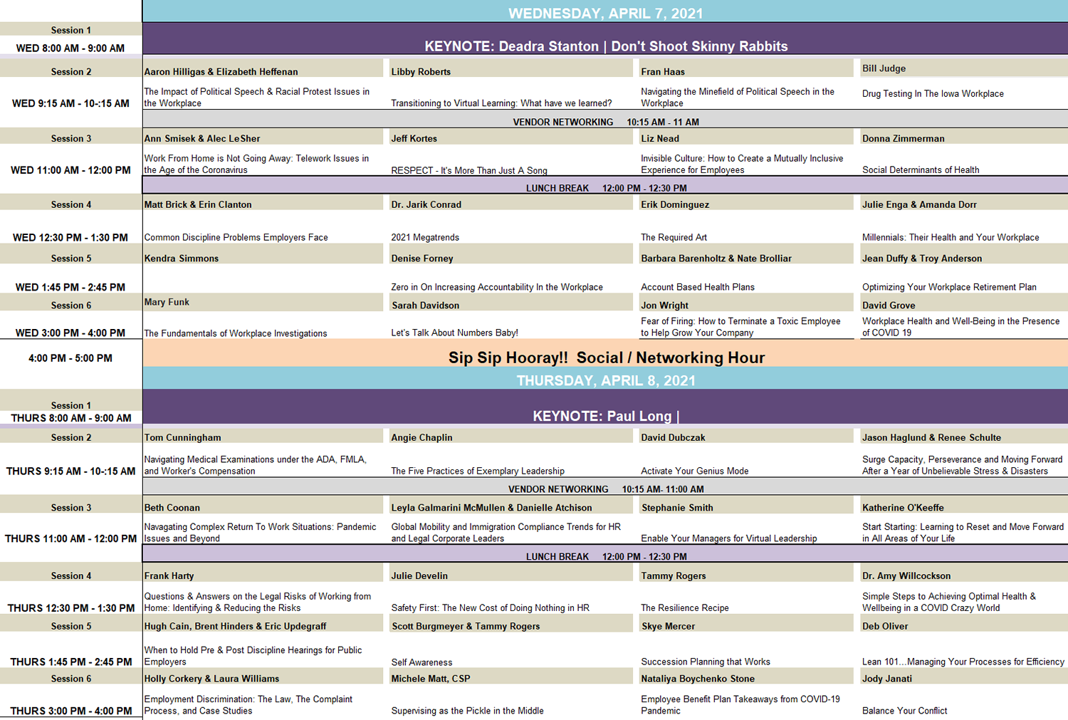 IEC Spring 2021 Schedule at a Glance
